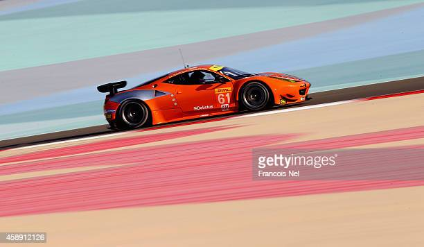The 8 Star Motorsport Ferrari F458 Italia driven by Gianluca Roda of Italy Paolo Ruberti of Italy and Matteo Cressoni of Italy during practice for...