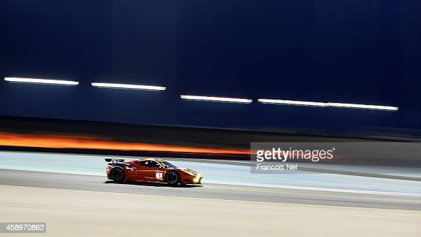 The 8 Star Motorsport Ferrari F458 Italia driven by Gianluca Roda of Italy Paolo Ruberti of Italy and Matteo Cressoni of Italy during qualifying for...