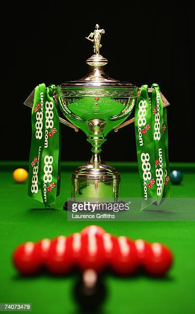 The 888com World Championship Trophy stands at the Crucible Theatre on May 4 2007 in Sheffield England