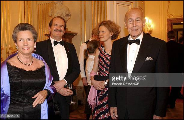The 90th Birthday of Otto von Habsburg in Vienna Austria on November 20 2002 President Valery Giscard d'Estaing and wife AnneAymone with Duke of...