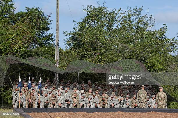 The 96 graduating soldiers of the United States Army's Ranger School sit together during the graduation ceremony of the United States Army's Ranger...