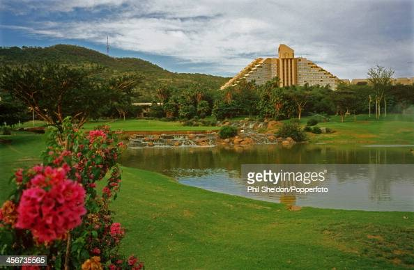 The 9th green and the hotel beyond at Sun City in South Africa circa 1995