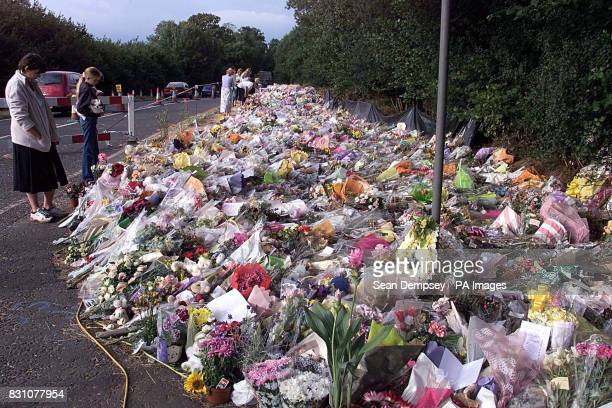 The A29 road side in Pulborough West Sussex covered in tributes for the eightyearold murdered schoolgirl Sarah Payne The overwhelming public display...