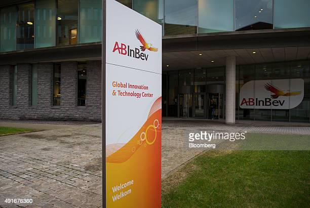 The AB InBev logo sits on a sign outside the AnheuserBusch InBev NV headquarters in Leuven Belgium on Wednesday Oct 7 2015 SABMiller Plc rejected AB...