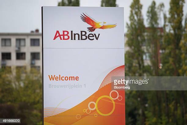 The ABInBev logo sits outside the AnheuserBusch InBev NV headquarters in Leuven Belgium on Wednesday Oct 7 2015 SABMiller Plc rejected AB InBev's...