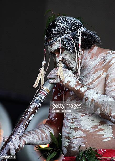 The Aboriginal welcome ceremony takes place on stage at the Australian leg of the Live Earth series of concerts at Aussie Stadium Moore Park on July...