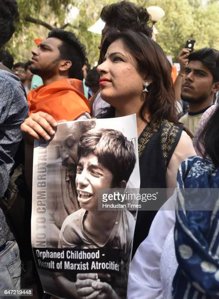 The ABVP students taking out march to protest against violence at Ramjas College at Delhi University on March 2 2017 in New Delhi India The 'Save DU'...