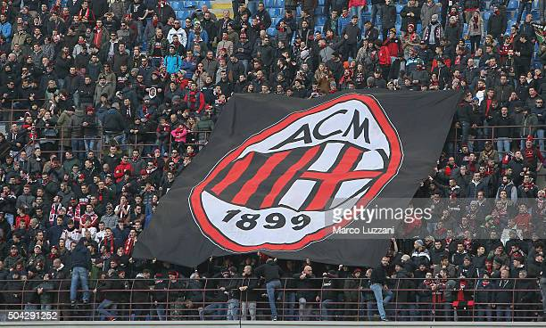 The AC Milan fans before the Serie A match between AC Milan and Bologna FC at Stadio Giuseppe Meazza on January 6 2016 in Milan Italy