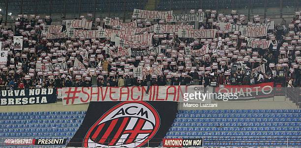 The AC Milan fans show their support before the Serie A match between AC Milan and UC Sampdoria at Stadio Giuseppe Meazza on April 12 2015 in Milan...