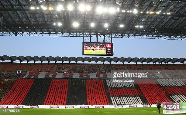 The AC Milan fans show their support before the Serie a match between AC Milan and AS Roma at Stadio Giuseppe Meazza on May 9 2015 in Milan Italy