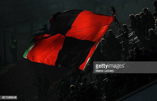 The AC Milan fans show their support before the Serie A match between AC Milan and Pescara Calcio at Stadio Giuseppe Meazza on October 30 2016 in...