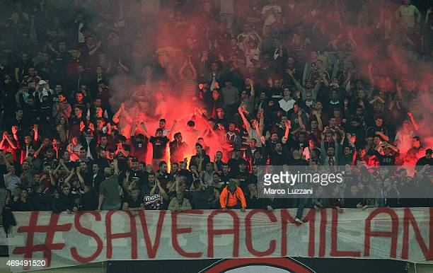 The AC Milan fans show their support during the Serie A match between AC Milan and UC Sampdoria at Stadio Giuseppe Meazza on April 12 2015 in Milan...