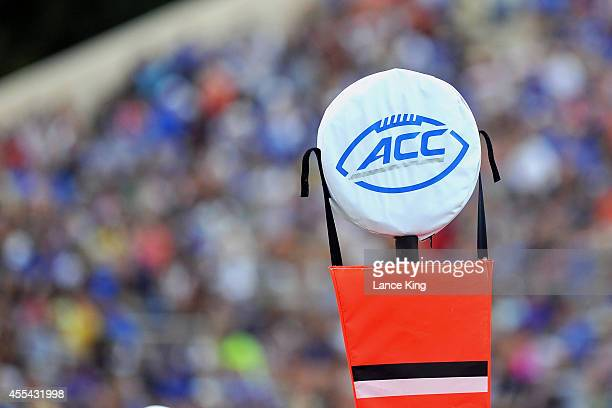 The ACC logo is seen on a field marker during a game between the Elon Phoenix and the Duke Blue Devils at Wallace Wade Stadium on August 30 2014 in...