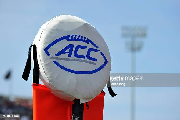The ACC logo is seen on a field marker during a game between the North Carolina State Wolfpack and the Wake Forest Demon Deacons at BBT Field on...