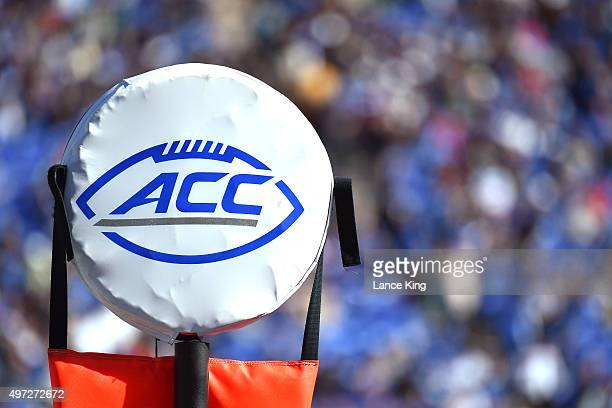 The ACC logo is seen on a field marker during a game between the Pittsburgh Panthers and the Duke Blue Devils at Wallace Wade Stadium on November 14...