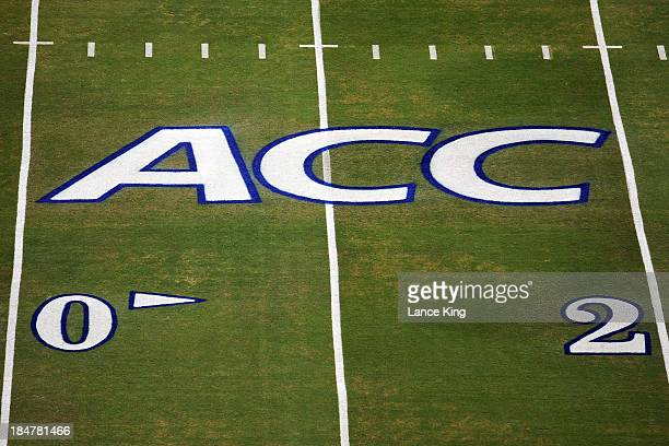 The ACC logo is seen on the field prior to a game between the Navy Midshipmen and the Duke Blue Devils at Wallace Wade Stadium on October 12 2013 in...