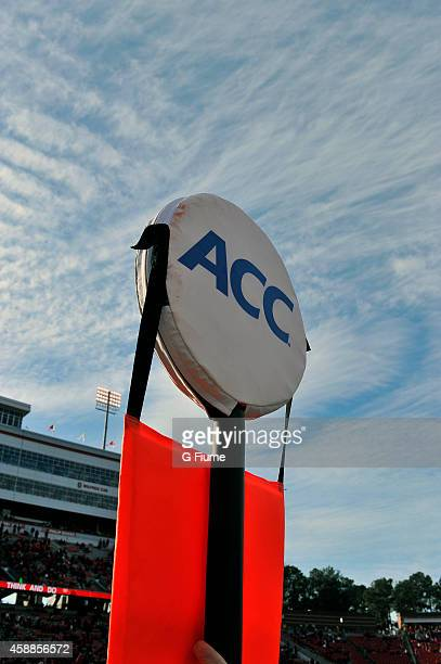 The ACC logo on a yardage marker during the game between the North Carolina State Wolfpack and the Maryland Terrapins at CarterFinley Stadium on...