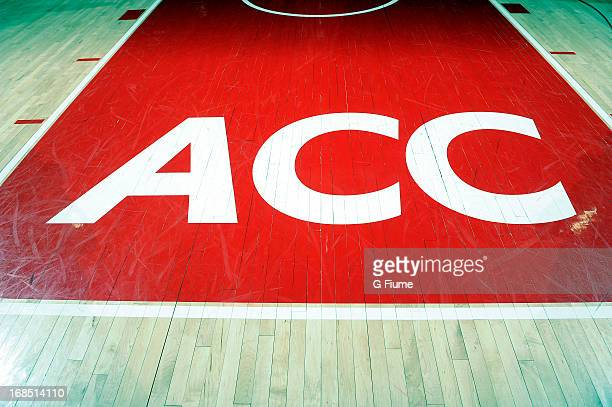 The ACC logo on the floor of the Comcast Center of the game between the Maryland Terrapins and the Niagara Purple Eagles during the first round of...