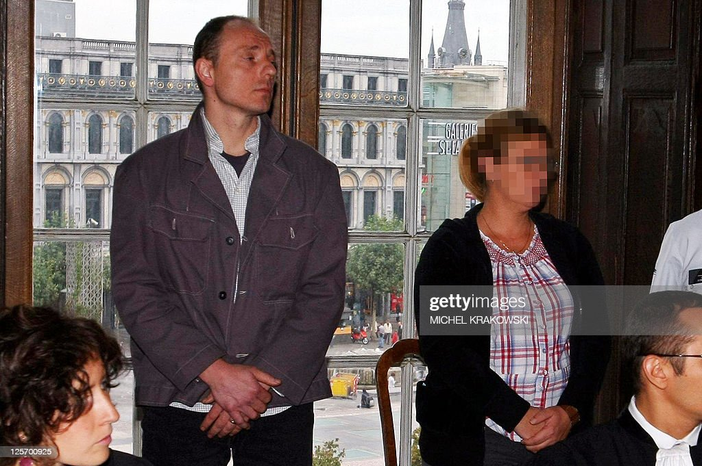 The accused Pascal Gillot (2L) and Nathalie Van Kessel (2R) attend the first day of the trial against Georgette Jonckers, Pascal Gillot and Nathalie Van Kessel, before the Court of Liege, on September 21, 2011. Jonckers, Gillot and Van Kessel are accused of poisoning 76-year-old Henri Vanhaeren in November 2003.