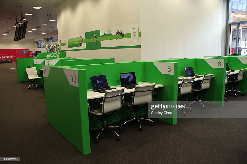 The Acer free internet access corner is on the ground floor of the Main Press Centre during the duration of the 2012 London Olympic Games at Olympic...