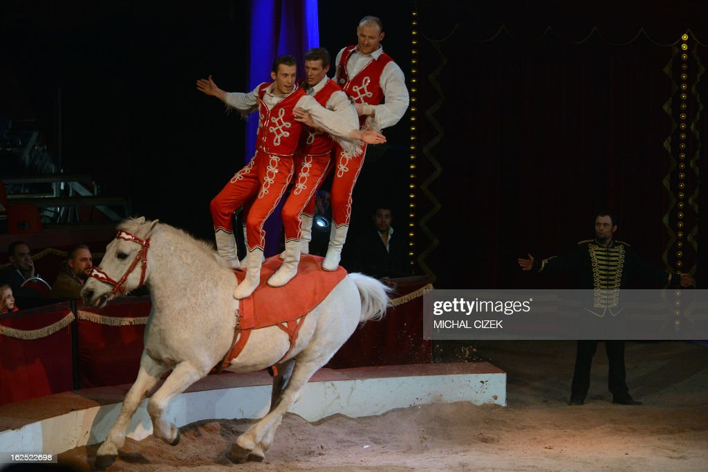 The acrobat group 'Donert' of Hungary performs during the 'International Cirkus Festival' (Circus) on February 24, 2013 in Prague.
