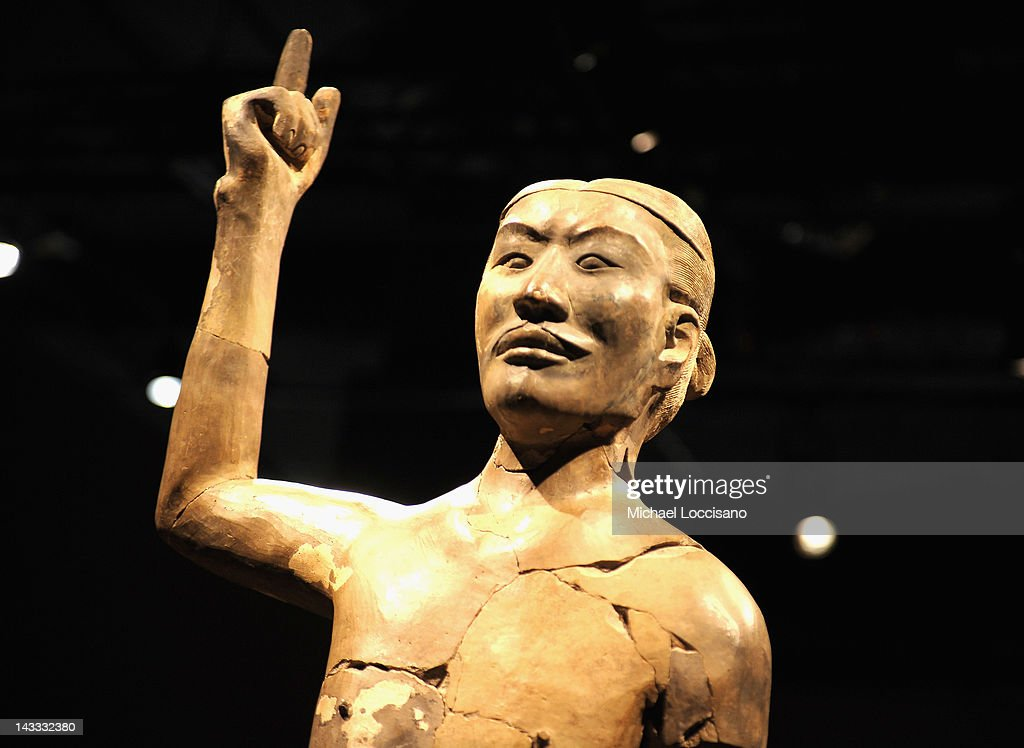 The Acrobat , one of Ten Terracotta soldiers on display at Discovery Times Square on April 24, 2012 in New York City. The exhibition is due to open on April 27, 2012