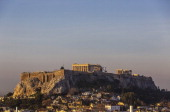 The Acropolis is seen at sunrise on January 10 2014 in Athens Greece