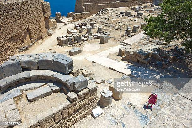 The Acropolis of Lindos on July 04 2010 in Lindos Greece The old town of Lindos is famous for the ancient Akropolis The Acropolis is built on a 116...