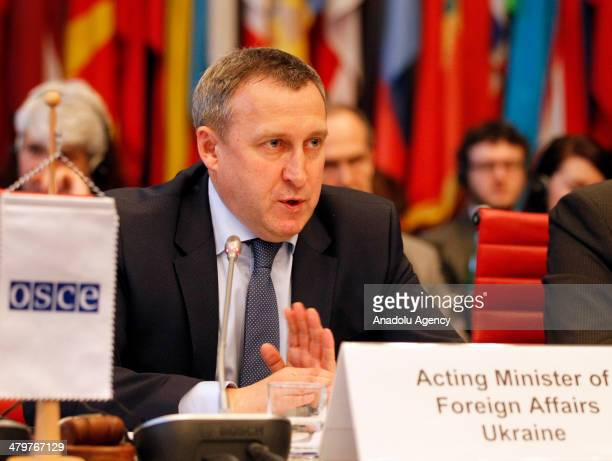 The Acting Foreign Minister of Ukraine Andrii Deshchytsia attends the Organization for Security and Cooperation in Europe Permanent Council on 20...