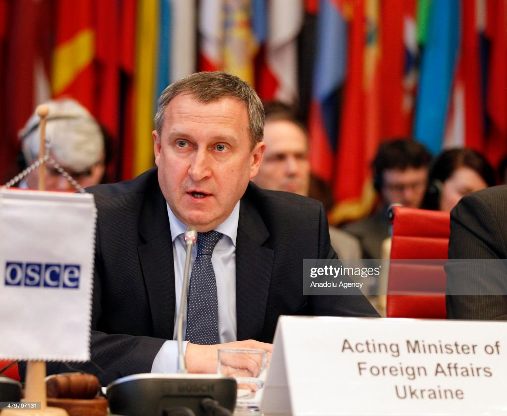 The Acting Foreign Minister of Ukraine, Andrii Deshchytsia attends the Organization for Security and Co-operation in Europe (OSCE) Permanent Council on 20 March 2014 in Vienna, Austria. He focuses on the situation in the country and discusses how OSCE can help overcome the current crisis in Ukraine.