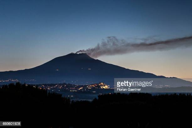 The active stratovolcano Mount Etna is pictured in the morning on June 08 2017 in Sigonella Italy