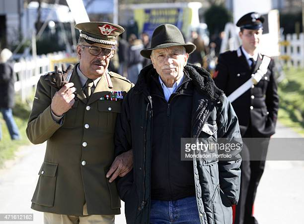 'The actor Giancarlo Giannini as Carlo Alberto dalla Chiesa and the director Giorgio Capitani being photo shooted on the set of the TV miniseries Il...