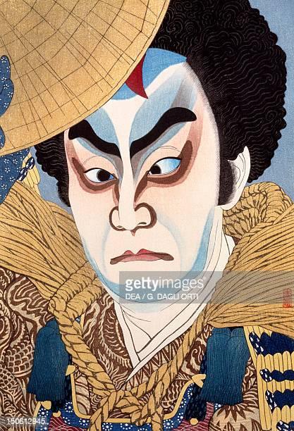 The actor Ichikawa VII Chuska aged 66 woodcut by Natori Shunsen Japanese civilization MeijiShowa period