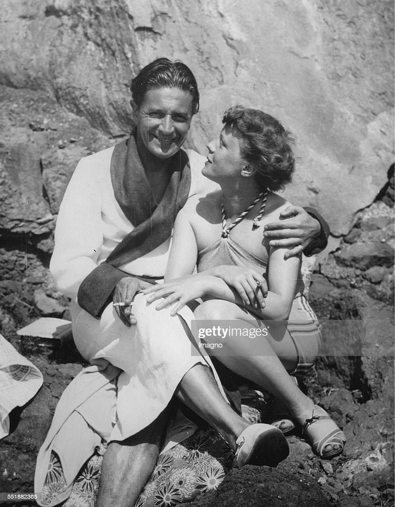 The actor Ivor Novello and Edna Best enjoying the sunshine at Madeira 29th March 1935 Photograph