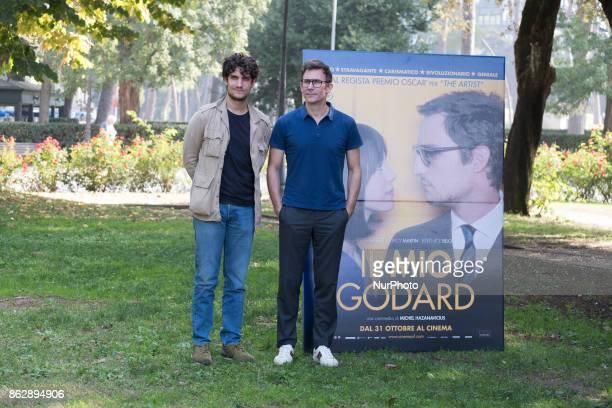 The actor Louis Garrell and the director Michel Hazanavicius attend the photocall of the movie 'Il mio godard' at the Casa del Cinema in Rome on...