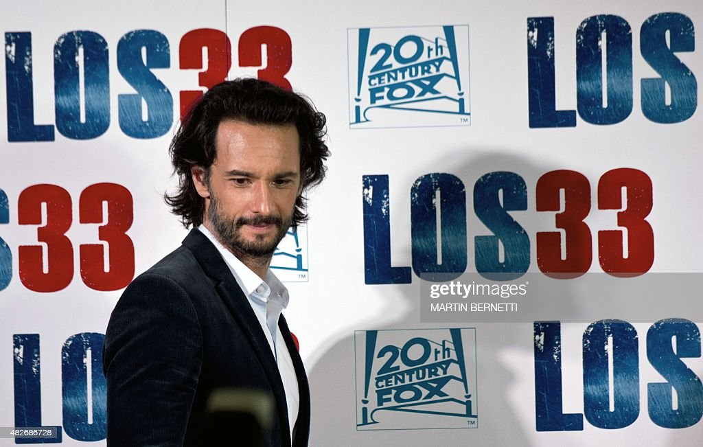The actor of the film 'The 33' Rodrigo Santoro poses for the photographers in Santiago on August 1 on the eve of the avant premiere of the film that...