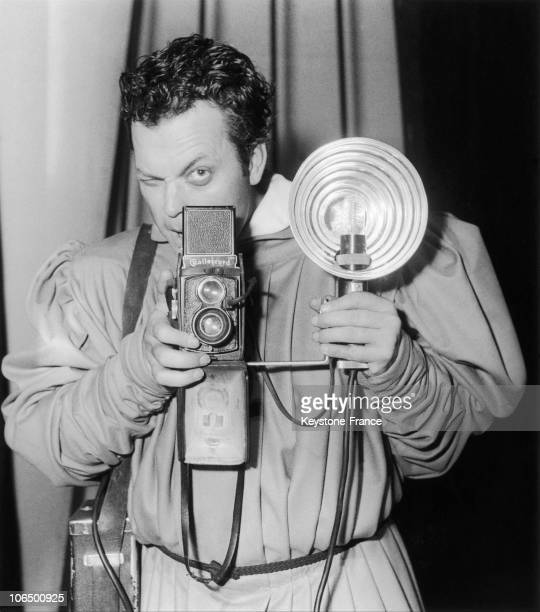 The Actor Orson Welles Playing The PhotographerReporter In His Interpretation Of Doctor Faustus At The Edward Vii Theatre In Paris On June 15 1950