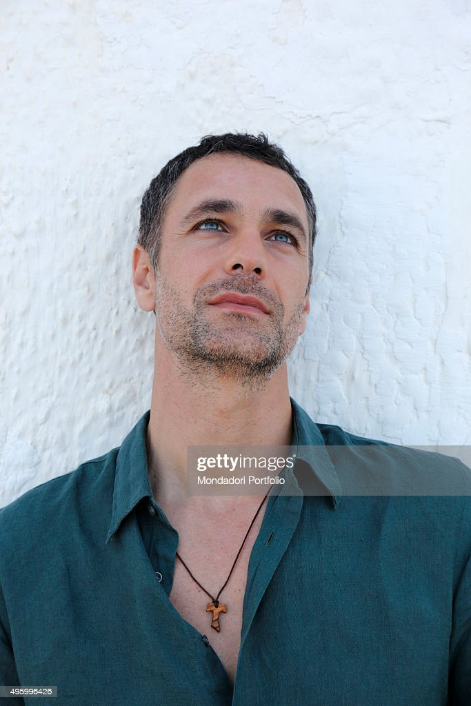 The actor Raoul Bova in a photo shooting He wears the tau Saint Francis' symbol Margherita di Savoia Italy 6th July 2014