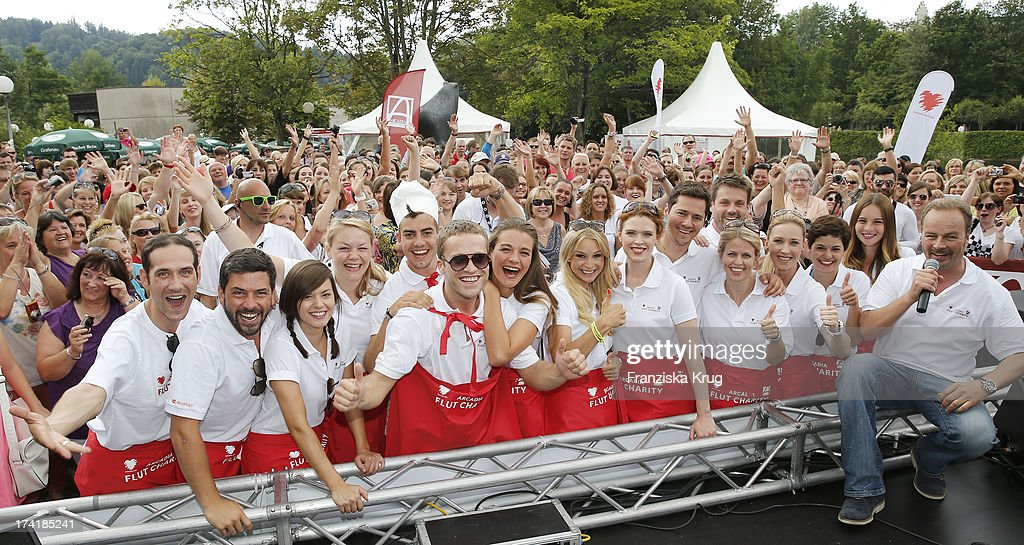 The actors from the TV soap 'Verbotene Liebe' attend the Charity Event Benefitting Flood Victims on July 20, 2013 in Grafenau, Germany.