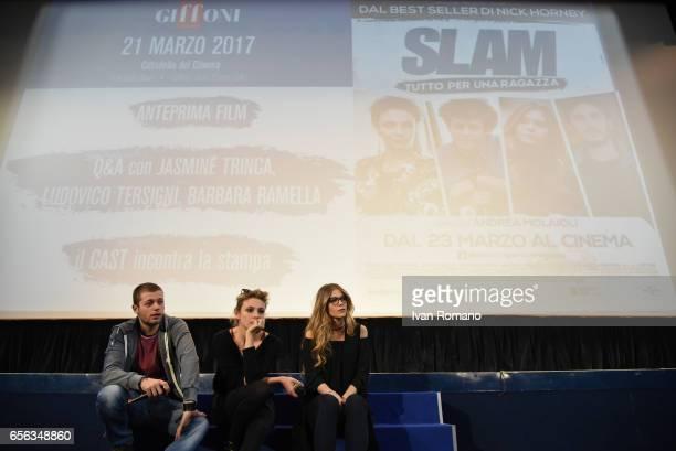 The actors Jasmine Trinca Ludovico Tersigni e Barbara Ramella attend a meet greet with who watched the movie preview of 'Slam Tutto per una ragazza'...