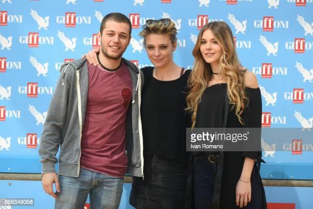 The actors Jasmine Trinca Ludovico Tersigni e Barbara Ramella attend a photocall after the movie preview of 'Slam Tutto per una ragazza' at the...