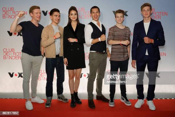 The actors of 'Club der roten Baender' Timur Bartels Ivo Kortlang Luise Befort Tim Oliver Schultz Nick Julius Schuck and Damian Hardung attend a...