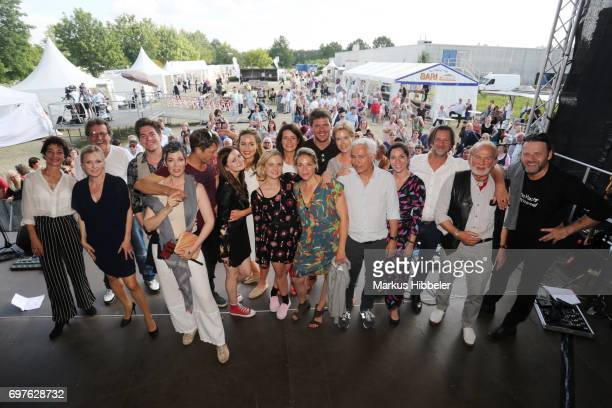The actors of Rote Rosen pose during the celebration of 2500 episodes of 'Rote Rosen' on June 18 2017 in Lueneburg Germany