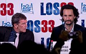 The actors of the film 'The 33' Antonio Banderas and Rodrigo Santoro pose for the photographers in Santiago on August 1 on the eve of the avant...