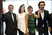 The actors of the film 'The 33' Antonio Banderas Cote de Pablo Kate del Castillo and Rodrigo Santoro pose for the photographers in Santiago on August...