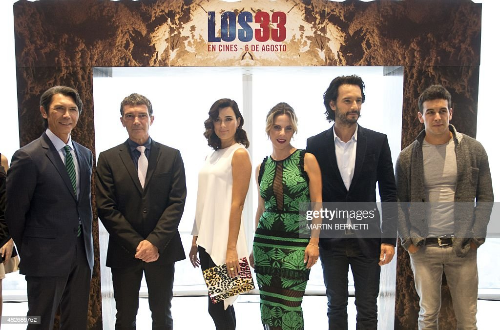 The actors of the film 'The 33' Lou Diamond Phillips Antonio Banderas Cote de Pablo Kate del Castillo and Rodrigo Santoro the producer Mike Medavoy...