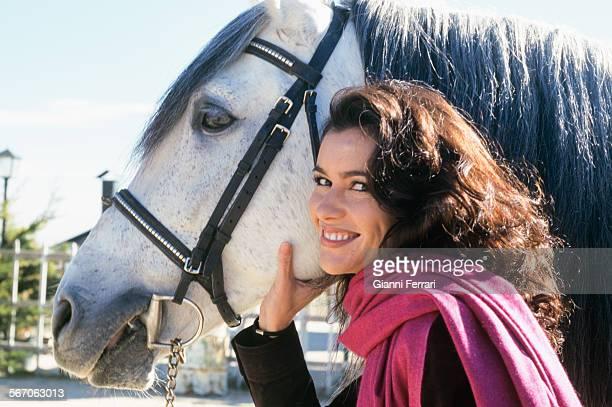 The actress and TV presenters Arancha del Sol practicing horse riding 25th November 1998 Madrid Spain