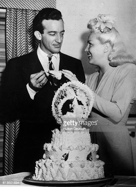 The actress Betty Grable with her new husband Harry James the trumpeter and band leader after their 1945 marriage in Las Vegas