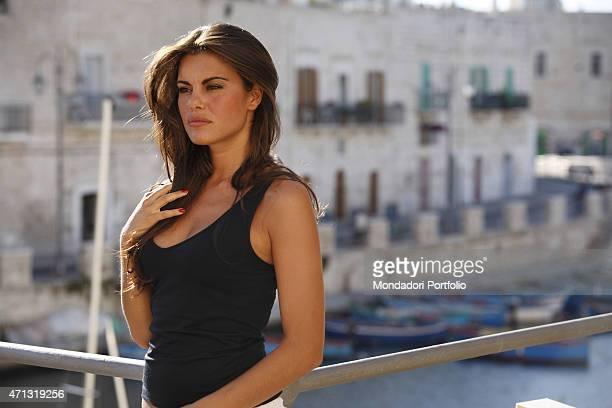 The actress Bianca Guaccero posing for a photo shooting at the marina of Bitonto Bitonto Italy 27th June 2007