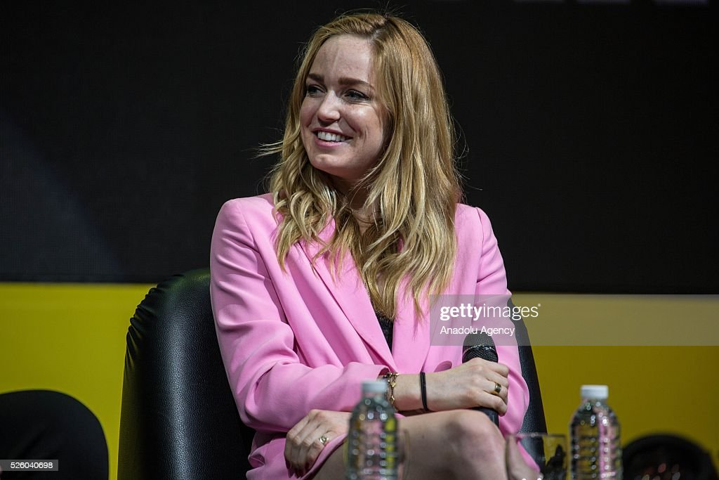 The Actress Caity Lotz (C) from the movie series 'The Legend of Tomorrow' speaks during the Bangkok Comic Con 2016 Festival at Bitec Exhibition Centre in Bangkok, Thailand on April 29, 2016. 'Cosplay' imitates characters from comics, video games, anime series and science fiction movies, mostly coming from the Japanese pop culture. Bangkok Comic Con is one of the biggest Pop Culture exhibition in Asia starts from 29 April until 1 May 2016. The event hopes to turn Thailand into a major center for international filmmakers and animators come to create their masterpieces. Comic Con is an internationally renowned event in the world of animation as it started in 1970 in San Diego.